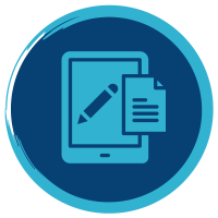 Icon with tablet, pen, and paper to signify writing techniques