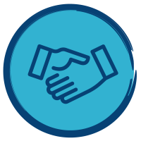 Icon with a collaborative hand shake